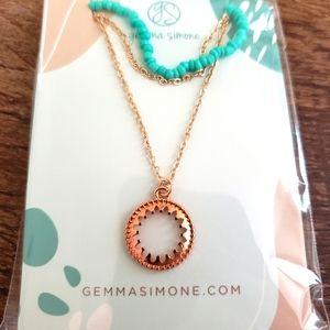 Gemma Simone Aqua Beaded Layered Necklace NEW $64